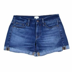 J. Crew Blue Jeans Shorts Size 24 Cuffed Mid Rise